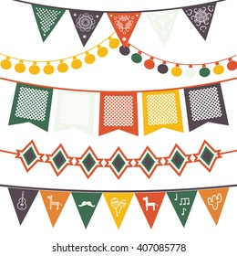 Hanging festive mexican banners, flags, electric lights garlands. Vector illustration isolated on a white background.