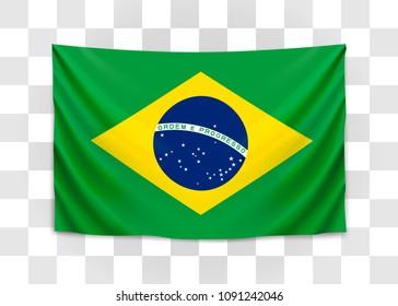 Hanging flag of Brazil. Federative Republic of Brazil. Brazilian national flag concept. Vector illustration.