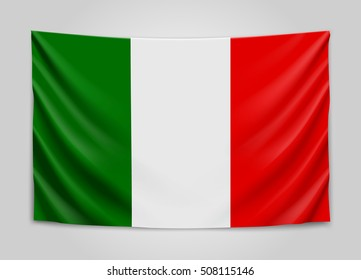 Hanging flag of Italy. Italian Republic. National flag concept. Vector illustration.