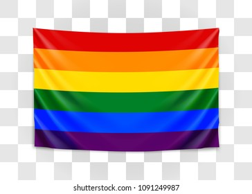 Hanging flag of lgbt. Tolerance concept. Vector illustration