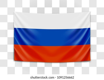 Hanging flag of Russia. Russian Federation. National flag concept. Vector illustration.