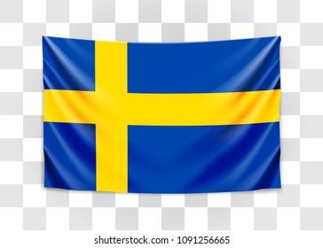 Hanging flag of Sweden. Kingdom of Sweden. National flag concept. Vector illustration.