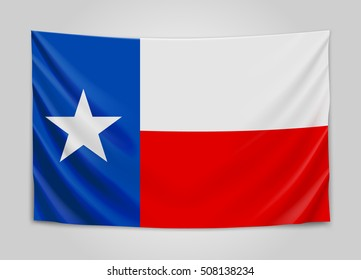 Hanging flag of Texas. State flag concept. Vector illustration.