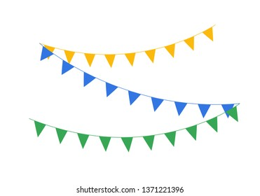 Hanging garlands party decoration. Flat vector design.