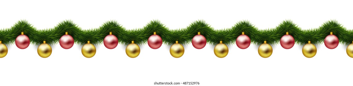 Hanging gold and red xmas balls and green garland isolated on white background. Vintage seasonal border and frame. Abstract vector Christmas design element. Holiday seamless pattern.