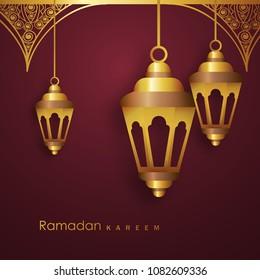 Hanging Golden Lanterns, Ramadan Kareem Wallpaper Design. - Shutterstock ID 1082609336