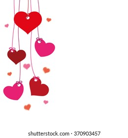 Hanging hearts on the white background. Eps 10 vector file.