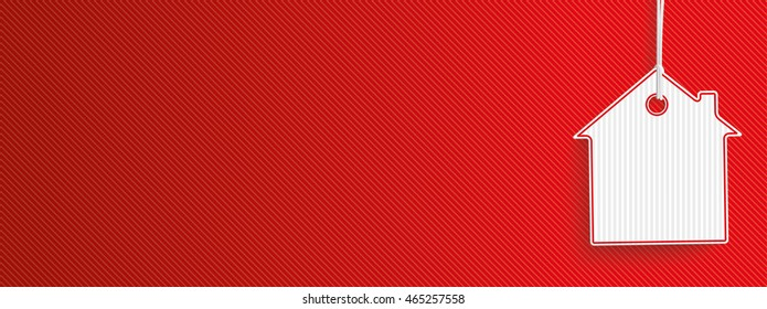 Hanging house shape price sticker on the red striped background. Eps 10 vector file.