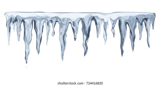 Hanging icicles in blue-gray tones. Vector