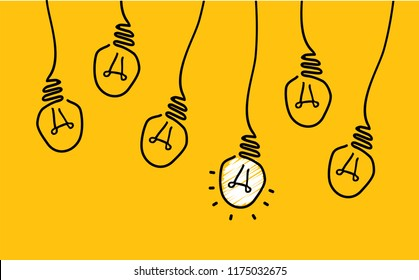 Hanging lamp. Comic brain electric lamp idea doodle. FAQ, business loading concept. Fun vector light bulb icon or sign ideas. Brilliant lightbulb education  or invention pictogram banner. Think big.