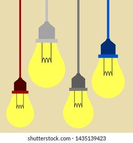 hanging lamps with four colors cable