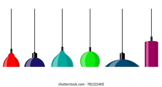 Hanging lamps, set. Chandeliers, lamps, bulbs - elements of modern interior. Vector illustration isolated