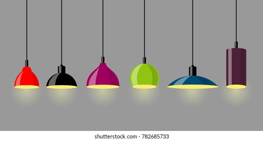 Hanging lamps, set. Chandeliers, lamps, bulbs - elements of modern interior. Vector illustration isolated.