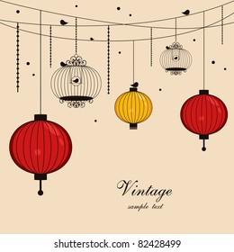 hanging lanterns and birdcages with space for text