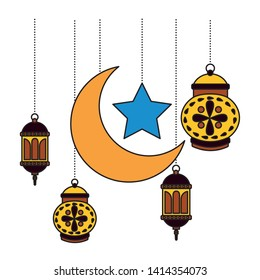 hanging lanterns moon star decoration on white background vector illustration