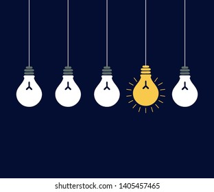 Hanging light bulb with fluorescent tube Vector icon lamp with concept of idea