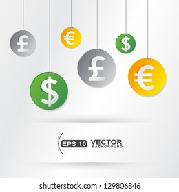 Hanging money currency signs elements business ,useful for background or cover