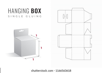 Hanging Packaging Box Die Cut Cubic Template with 3D Preview -  Black Editable Blueprint Layout with Cutting and Scoring Lines on Striped Background - Vector Draw Graphic Design