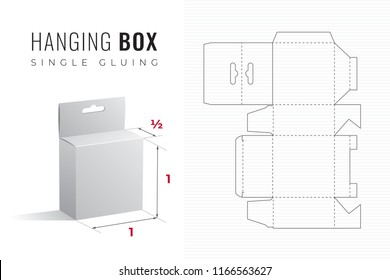 Hanging Packaging Box Die Cut Half Length Single Height Template with 3D Preview -  Black Editable Blueprint Layout with Cutting and Scoring Lines on Striped Background - Vector Draw Graphic Design