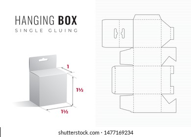 Hanging Packaging Box Die Cut One and Half Height and Width Template with 3D Preview -  Black Editable Blueprint Layout with Cutting and Scoring Lines on Striped Background - Vector Graphic Design