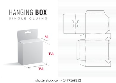 Hanging Packaging Box Die Cut One and Half Width and Height Half Length Template with 3D Preview -  Black Editable Blueprint Layout with Cutting and Scoring Lines on Background - Vector Graphic Design