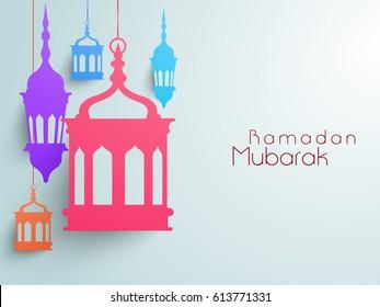 Hanging Paper Lanterns for Ramadan Mubarak celebrations.