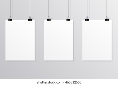 Hanging paper poster on wall poster. Vector illustration