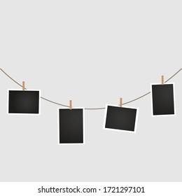 Hanging photo card. Photo card icons.  Photo album. Photos.
