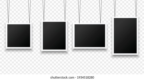 hanging photo frames in various sizes background