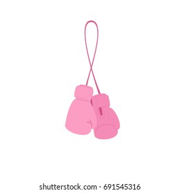 Hanging pink boxing gloves. Breast cancer clipart isolated on white background