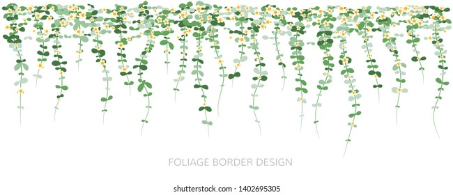 Hanging plants with flowers. Ivy greenery wall. Simplistic foliage border. Horizontal isolated vector decoration.