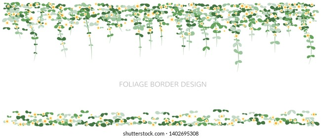 Hanging plants with flowers. Ivy greenery wall with falling leaves. Simplistic foliage borders. Horizontal isolated vector decoration.