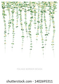 Hanging plants with flowers. Ivy greenery wall. Simplistic foliage border. Vertical isolated vector decoration.