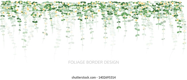 Hanging plants with flowers. Ivy greenery wall. Simplistic foliage border with layered effect. Vertical isolated vector decoration.