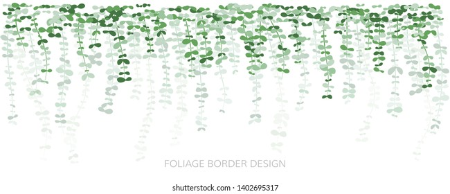 Hanging plants. Ivy greenery wall. Simplistic foliage border with layered effect. Vertical isolated vector decoration.