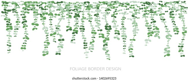 Hanging plants. Ivy greenery wall. Simplistic foliage border. Horizontal isolated vector decoration.