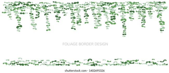 Hanging plants. Ivy greenery wall with falling leaves. Simplistic foliage borders. Horizontal isolated vector decoration.