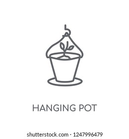 Hanging pot linear icon. Modern outline Hanging pot logo concept on white background from Agriculture Farming and Gardening collection. Suitable for use on web apps, mobile apps and print media.