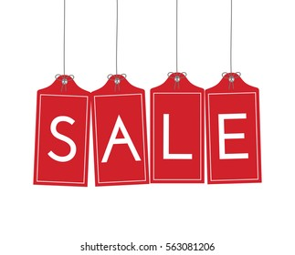 Hanging Red Sale Tags with knots and ribbons