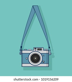 hanging Retro camera flat style design