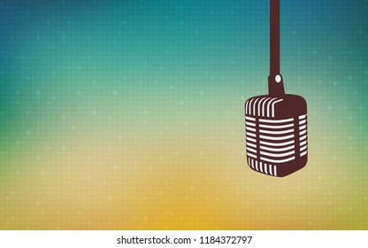 hanging retro microphone from above with bokeh led light in flat icon design on vintage blue color background
