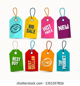 Hanging Sale Tags with Ropes - Colorful Paper Vector Discount Labels Set