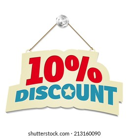 Hanging sign with inscription 10% discount - isolated on white background. Vector illustration.