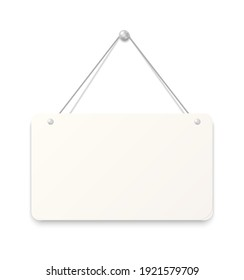 Hanging sign. Realistic blank signboard. White paper sheet attached to wall with metallic button. Empty square cardboard with rounded edges. Reminder pinned by silver metal nail. Vector signage mockup
