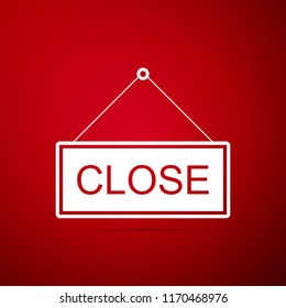 Hanging sign with text Closed icon isolated on red background. Business theme for cafe or restaurant. Flat design. Vector Illustration