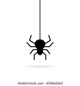 Hanging spider vector icon on white background