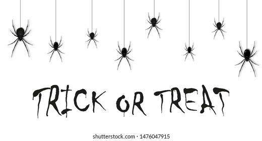 Hanging spiders for decoration and covering on the white background. Creepy background for Halloween. Vector illustration.