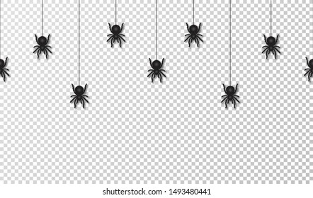 Hanging spiders for Halloween decoration, seamless pattern. Scary spiders hanging on cobweb, transparent background. Vector