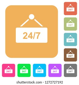hanging table with 24h seven days a week flat icons on rounded square vivid color backgrounds.