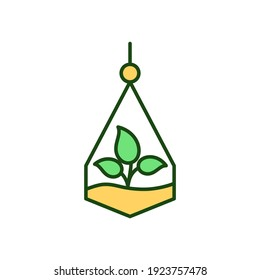Hanging terrarium RGB color icon. Plant in jar. Succulent growing. Florarium for decor. Plant for living space. Biophilic home interior decoration. Greenery for indoors. Isolated vector illustration